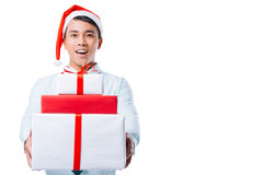 Carrying gift boxes Royalty Free Stock Images