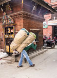 Carrying goods on the back Stock Image