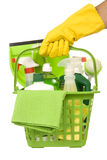 Carrying Green Cleaning Supplies stock photo