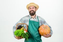 Carrying a healthy bag. organic and natural food. happy halloween. man chef with rich autumn crop. seasonal vitamin food. Carrying a healthy bag. organic and stock photos