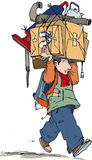Carrying junk. Walking man carrying objects on head Stock Photo