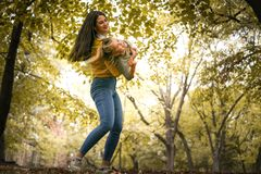 Carrying me mom trough park. On the move. Lifestyle royalty free stock photos