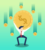 Carrying money businessman  with business growth illustration Royalty Free Stock Image