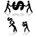 Carrying money. Concept illustration showing people carrying a dollar sign around Stock Photo