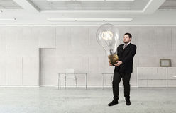 He is carrying out an idea . 3D render Royalty Free Stock Photos