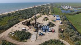Carrying out repair of an oil well Stock Photos