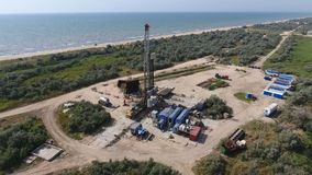 Carrying out repair of an oil well Stock Image