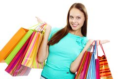 Carrying paperbags Stock Photography