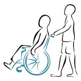 Carrying the patient. Men on wheelchair on white isolated background Stock Photo