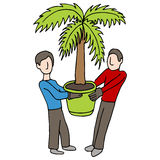 Carrying Potted Palm stock illustration