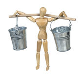 Carrying Silver Buckets Balanced on a Pole Stock Photography