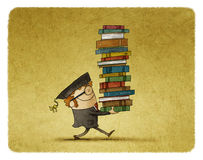 Carrying a stack of books. Illustration of graduate student carrying a stack of books Stock Images