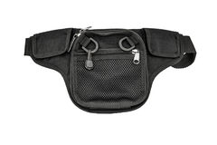 Carrying weapons case: military tactical cartridge pouch made fr. Om high-tech fabric with quick connection system, close up, isolated stock photos