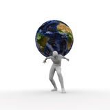 Carrying the weight of the world. Man with the world on his back Stock Photo