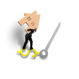 Carrying wood house balance on USD dollar sign clock hands isola Stock Photo