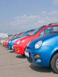 Cars. A line of cars, all the same, parked side by side Stock Photography