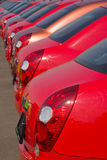 Cars. A row of new cars parked at a car dealer shop Stock Photography