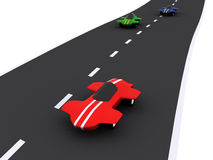 Cars. Competition of abstract sport cars. 3d stock illustration