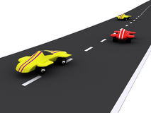 Cars. Competition of abstract sport cars. 3d royalty free illustration