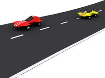 Cars. Competition of abstract sport cars. 3d vector illustration