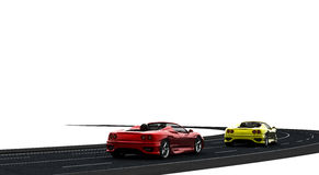 Cars. Two cars, one red and one yellow on the road Stock Images