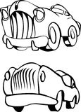 Cars. Cartoon style old fashioned cars Royalty Free Stock Photo