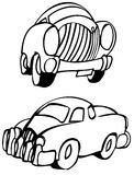 Cars. Cartoon style old fashioned cars Royalty Free Stock Images