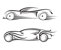 Cars. Set of two monochrome car Royalty Free Stock Photo