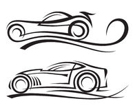 Cars. Set of two monochrome car Royalty Free Stock Image