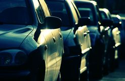 Cars. Are in greenish-blue colors stock image