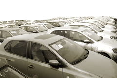 Cars. On the stopping place parked neatly dozens of cars Stock Images