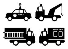 Cars. Ambulance, police car, fire truck and tow truck silhouettes Royalty Free Stock Images