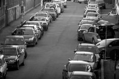 Cars. Many old cars all in line Royalty Free Stock Photography