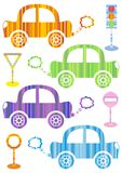 Cars. Set of cute colorful cars on white background Stock Photography