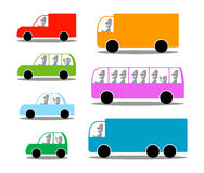 Cars. Seven colorful silhouettes of cars Stock Photos