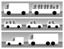 Cars. White silhouettes of cars, black and white illustrations with place for your text Stock Images
