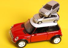 Cars. Toy cars are staying on each other Stock Photo
