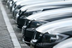 Cars. Many new cars all in one line Stock Image