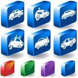 Cars 3D Button Set. Set of 6 3D Car Buttons Royalty Free Stock Photography