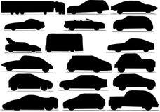 Cars. Black silhouette of cars vector Stock Photos