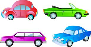 Cars. Collection of colourful cars isolated on white Stock Image