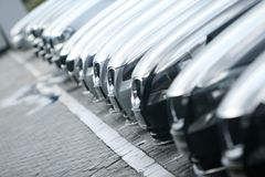Cars. Many new cars in line stock image