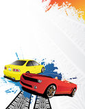 Cars. Yellow and red car on the abstract background Stock Photos