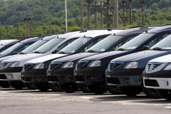 Cars. Row in front of a  shop royalty free stock photography