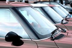 Cars. A long line of new cars Royalty Free Stock Photography