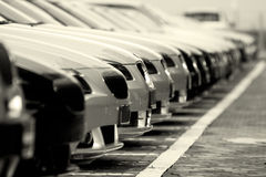 Cars. Many new cars all in one line Royalty Free Stock Photo