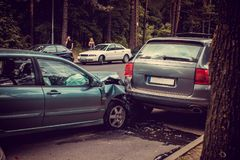 Cars accident on a road. Stock Photo