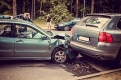 Cars accident on a road. Royalty Free Stock Image