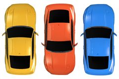 Cars Aerial Illustration Royalty Free Stock Images