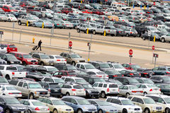 Cars in the airport parking lot at DIA Royalty Free Stock Photo